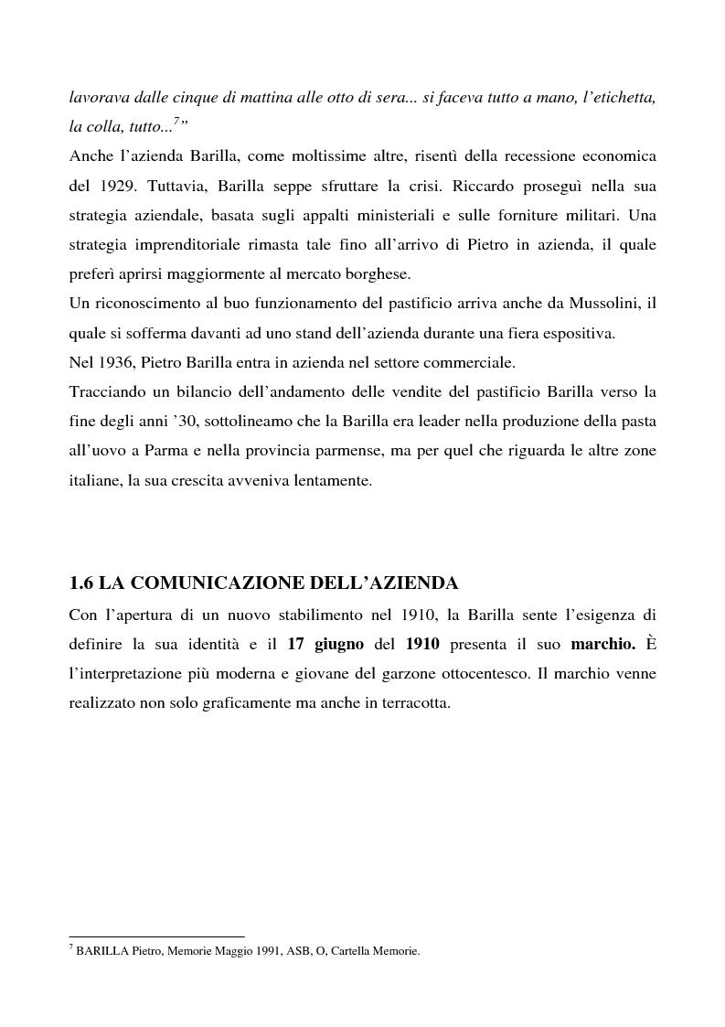 Anteprima della tesi: Cosa bolle in pentola? Il caso Barilla: 125 anni di comunicazione sempre al dente., Pagina 13