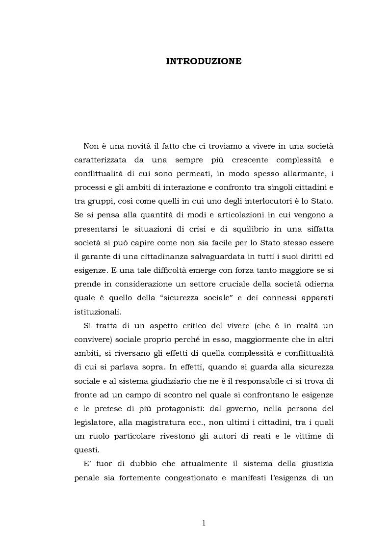 Anteprima della tesi: Le funzioni penali del Giudice di Pace. Un'indagine esplorativa nel distretto di Oristano, Pagina 1