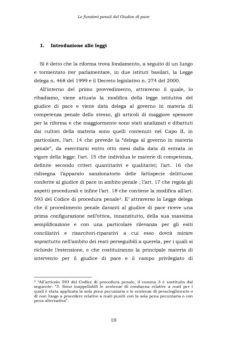 Anteprima della tesi: Le funzioni penali del Giudice di Pace. Un'indagine esplorativa nel distretto di Oristano, Pagina 10