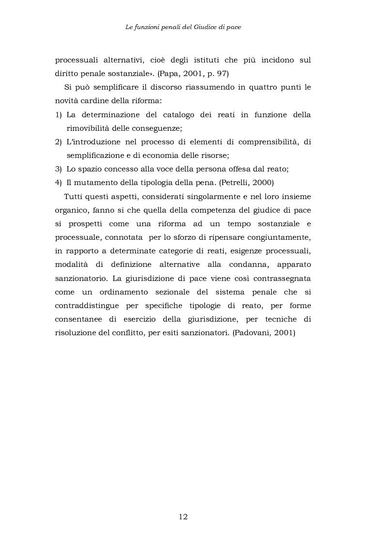 Anteprima della tesi: Le funzioni penali del Giudice di Pace. Un'indagine esplorativa nel distretto di Oristano, Pagina 12