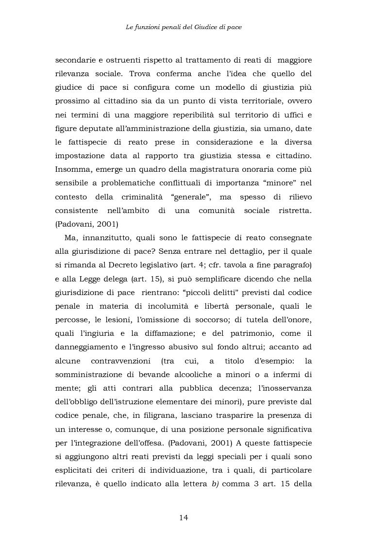 Anteprima della tesi: Le funzioni penali del Giudice di Pace. Un'indagine esplorativa nel distretto di Oristano, Pagina 14