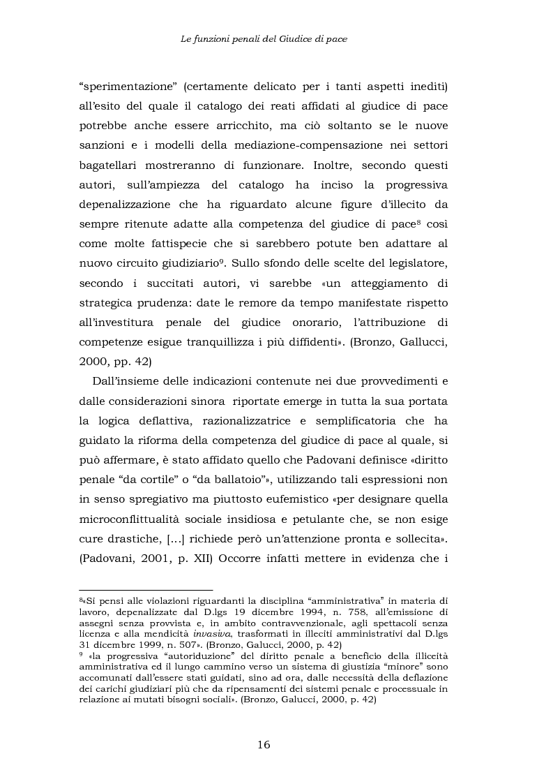 Anteprima della tesi: Le funzioni penali del Giudice di Pace. Un'indagine esplorativa nel distretto di Oristano, Pagina 16