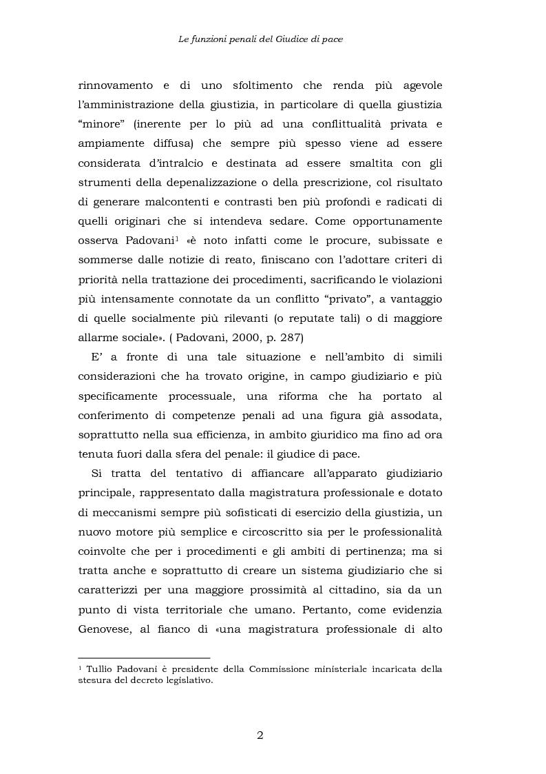Anteprima della tesi: Le funzioni penali del Giudice di Pace. Un'indagine esplorativa nel distretto di Oristano, Pagina 2