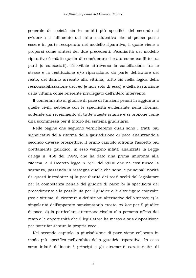 Anteprima della tesi: Le funzioni penali del Giudice di Pace. Un'indagine esplorativa nel distretto di Oristano, Pagina 4