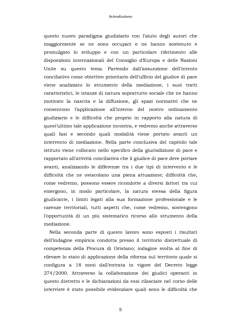 Anteprima della tesi: Le funzioni penali del Giudice di Pace. Un'indagine esplorativa nel distretto di Oristano, Pagina 5