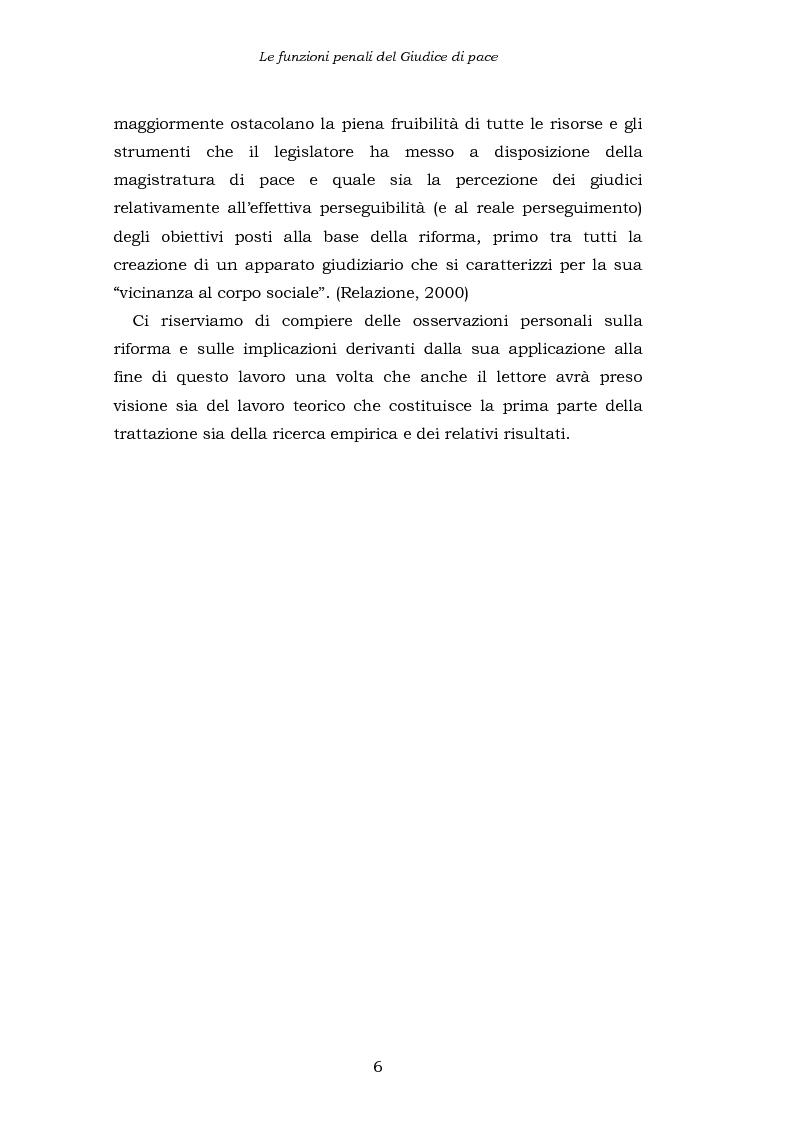 Anteprima della tesi: Le funzioni penali del Giudice di Pace. Un'indagine esplorativa nel distretto di Oristano, Pagina 6