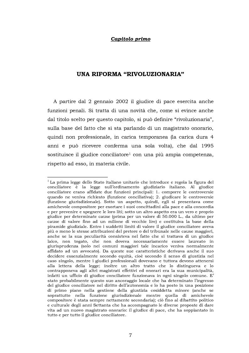 Anteprima della tesi: Le funzioni penali del Giudice di Pace. Un'indagine esplorativa nel distretto di Oristano, Pagina 7