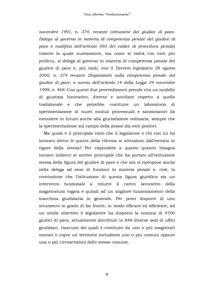 Anteprima della tesi: Le funzioni penali del Giudice di Pace. Un'indagine esplorativa nel distretto di Oristano, Pagina 9