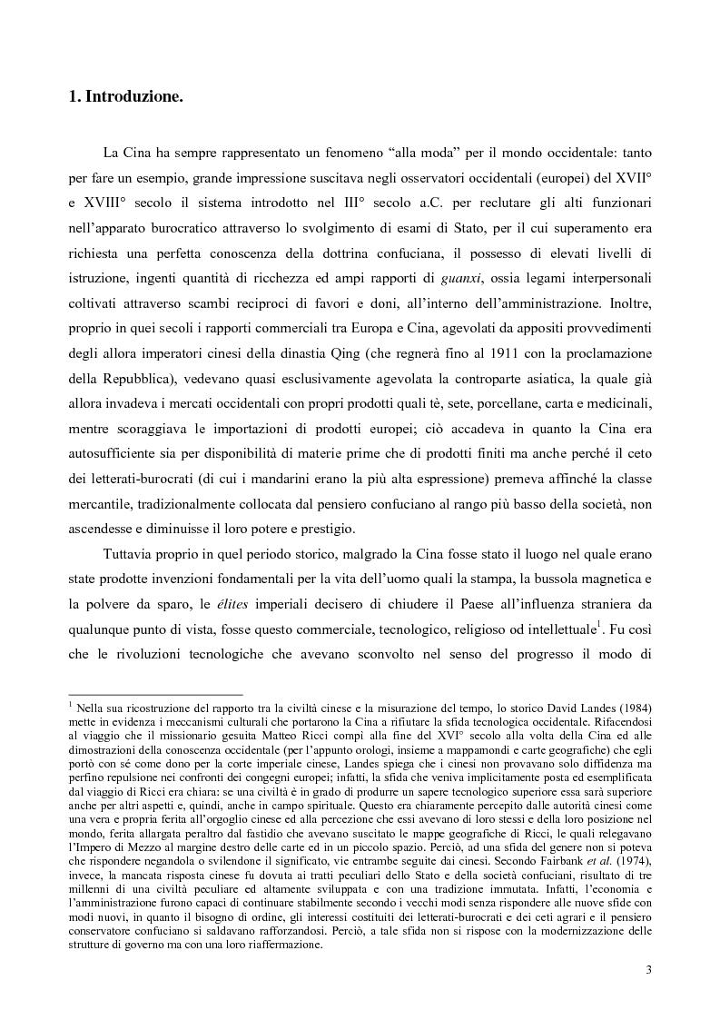 Anteprima della tesi: La Cina tra globalizzazione e democratizzazione, Pagina 1