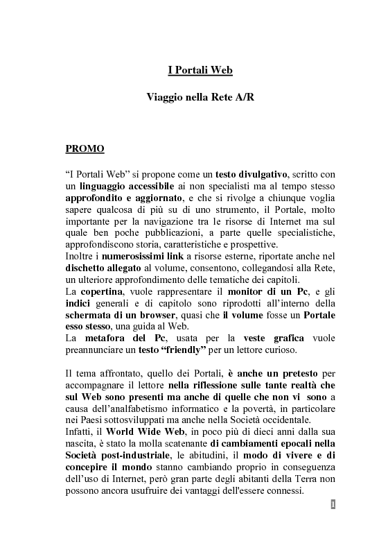 Anteprima della tesi: I Portali Web. Viaggio nella Rete A/R., Pagina 1