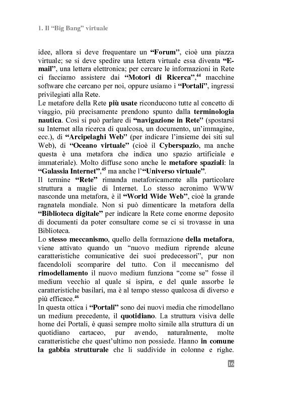 Anteprima della tesi: I Portali Web. Viaggio nella Rete A/R., Pagina 14