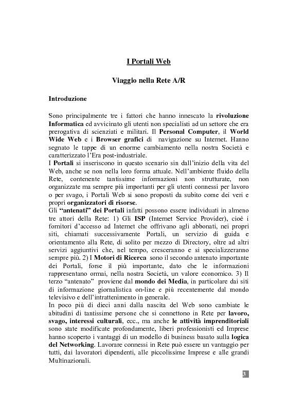 Anteprima della tesi: I Portali Web. Viaggio nella Rete A/R., Pagina 3