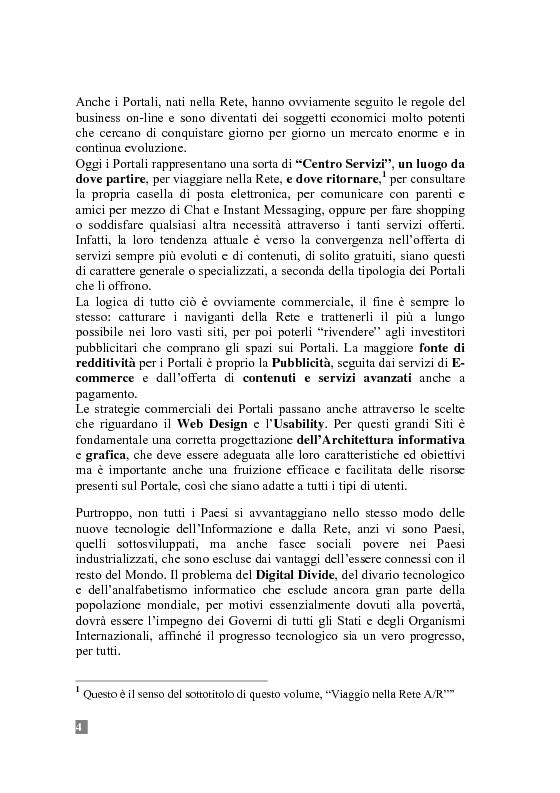 Anteprima della tesi: I Portali Web. Viaggio nella Rete A/R., Pagina 4