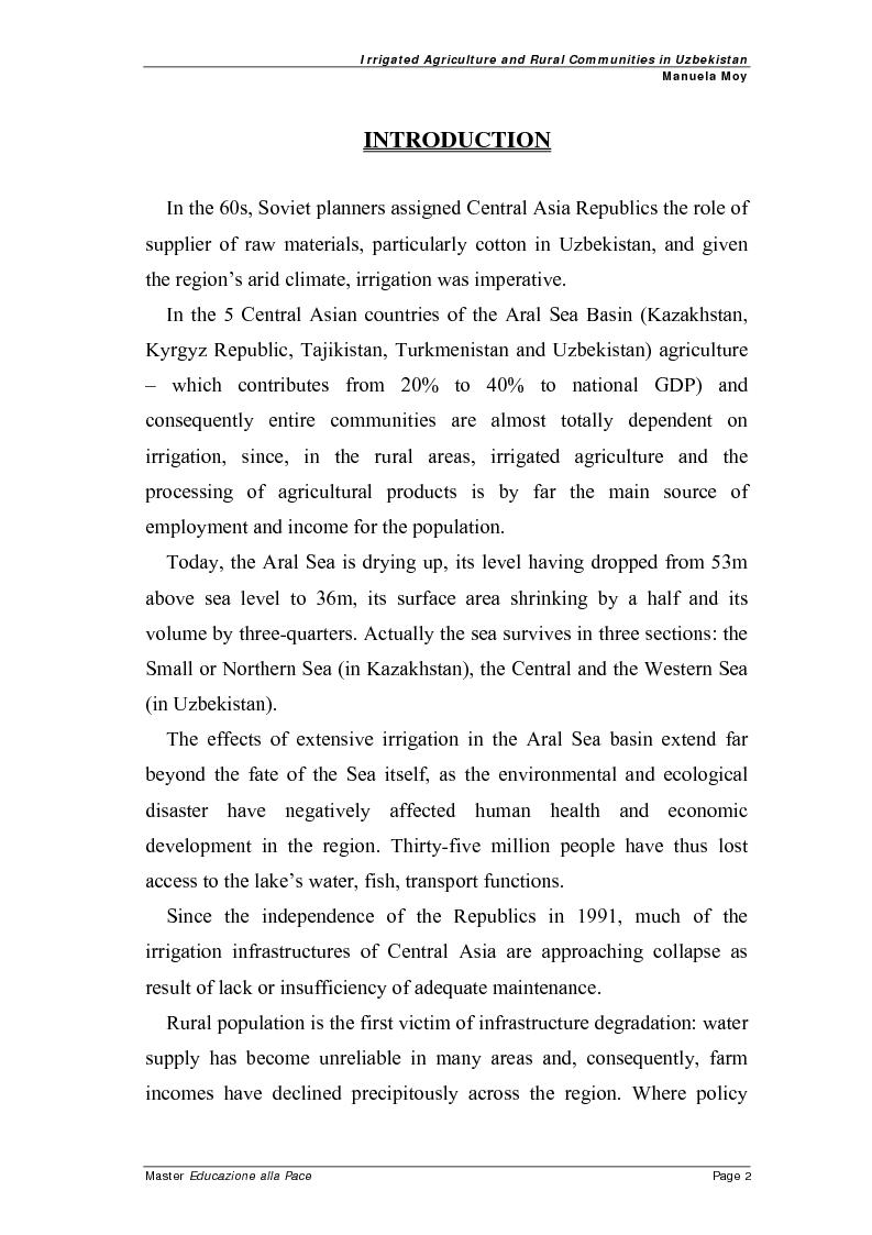 Anteprima della tesi: Irrigated agriculture and rural communities in Uzbekistan, Pagina 1