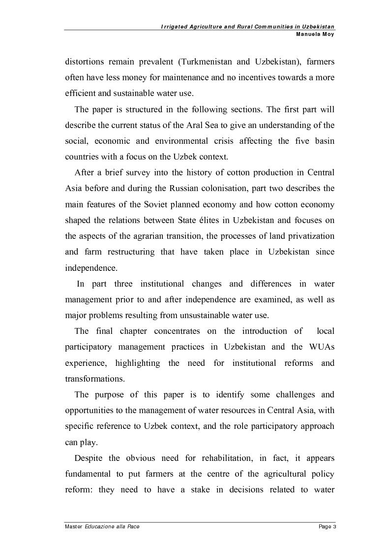 Anteprima della tesi: Irrigated agriculture and rural communities in Uzbekistan, Pagina 2
