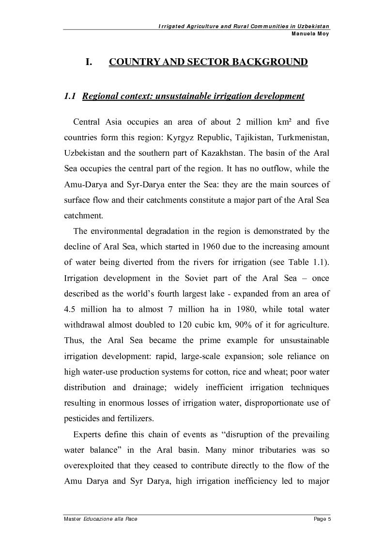 Anteprima della tesi: Irrigated agriculture and rural communities in Uzbekistan, Pagina 4