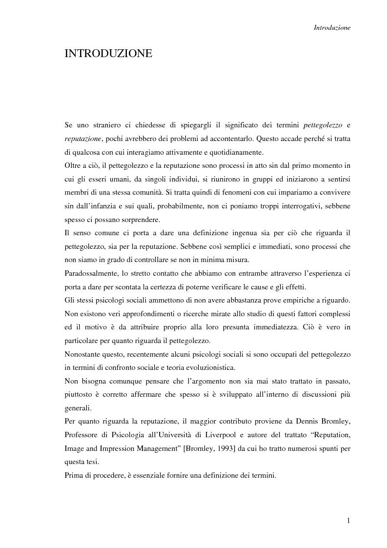 Anteprima della tesi: Spesso, ma non sempre, l'apparenza inganna. Reputazione e pettegolezzo come forme di controllo sociale., Pagina 1