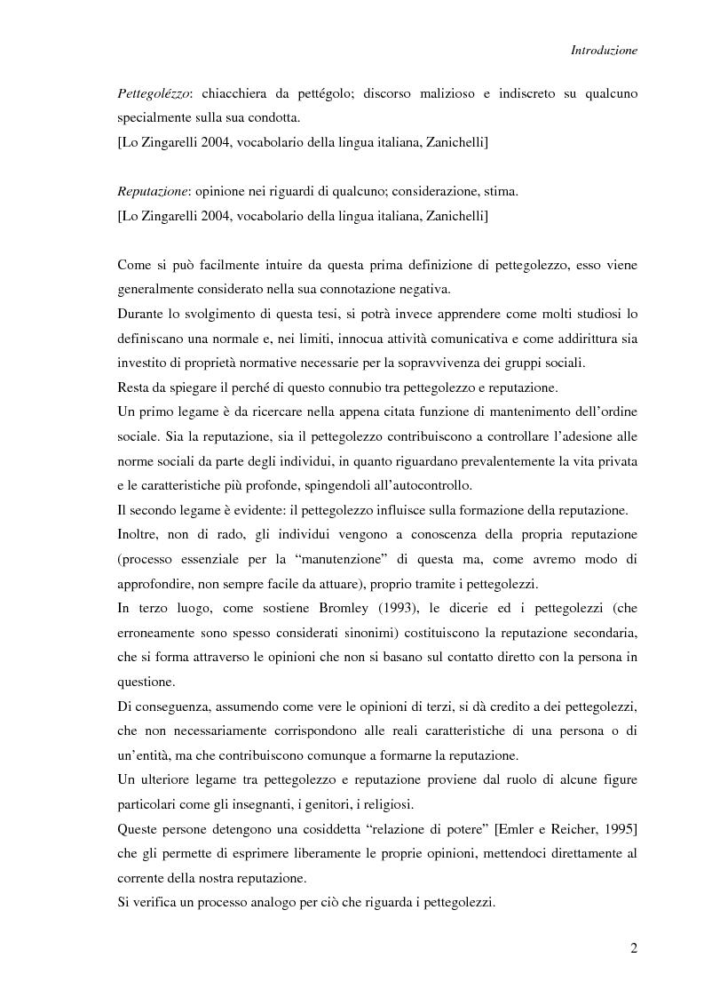Anteprima della tesi: Spesso, ma non sempre, l'apparenza inganna. Reputazione e pettegolezzo come forme di controllo sociale., Pagina 2
