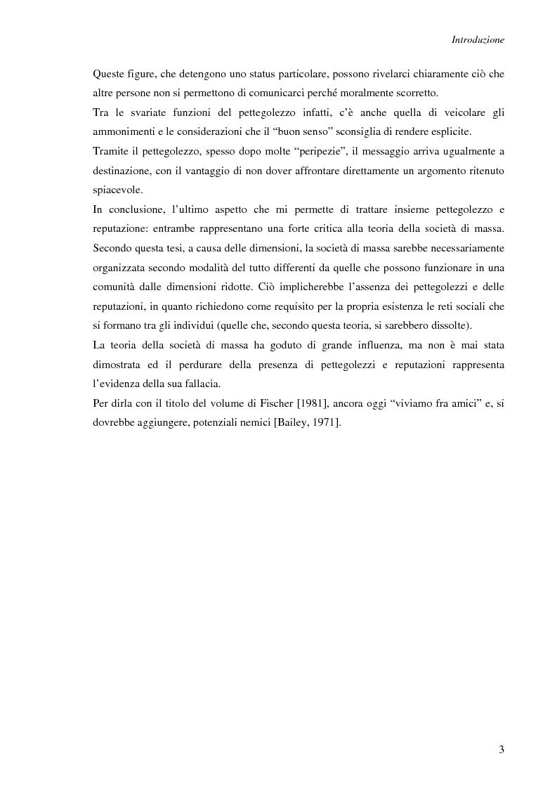 Anteprima della tesi: Spesso, ma non sempre, l'apparenza inganna. Reputazione e pettegolezzo come forme di controllo sociale., Pagina 3
