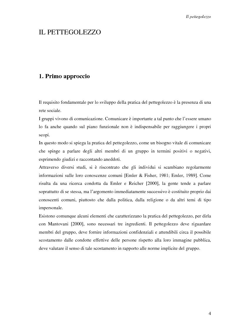 Anteprima della tesi: Spesso, ma non sempre, l'apparenza inganna. Reputazione e pettegolezzo come forme di controllo sociale., Pagina 4