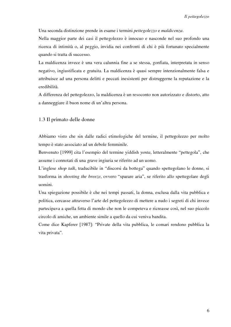 Anteprima della tesi: Spesso, ma non sempre, l'apparenza inganna. Reputazione e pettegolezzo come forme di controllo sociale., Pagina 6