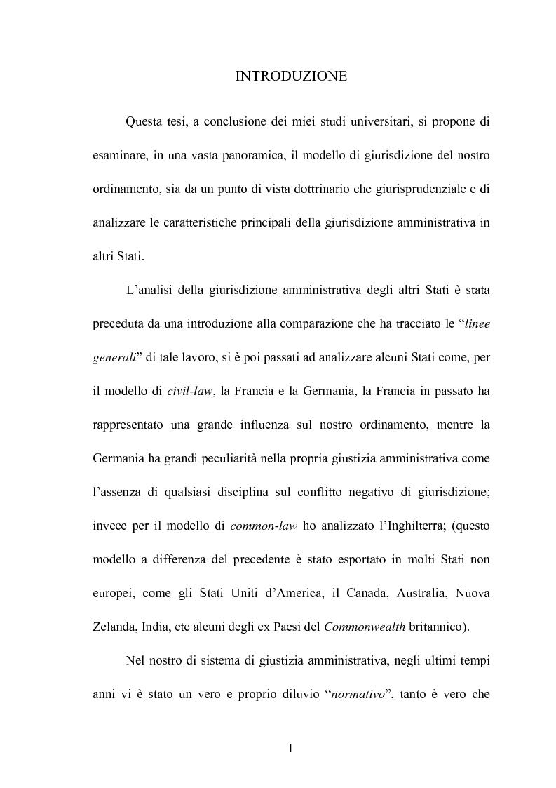 Anteprima della tesi: Modelli di giurisdizione amministrativa in Italia e nei paesi dell'Unione Europea, Pagina 1