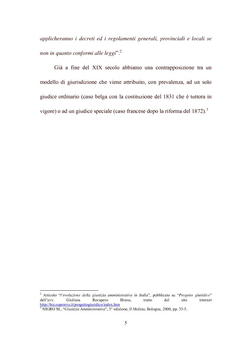 Anteprima della tesi: Modelli di giurisdizione amministrativa in Italia e nei paesi dell'Unione Europea, Pagina 7