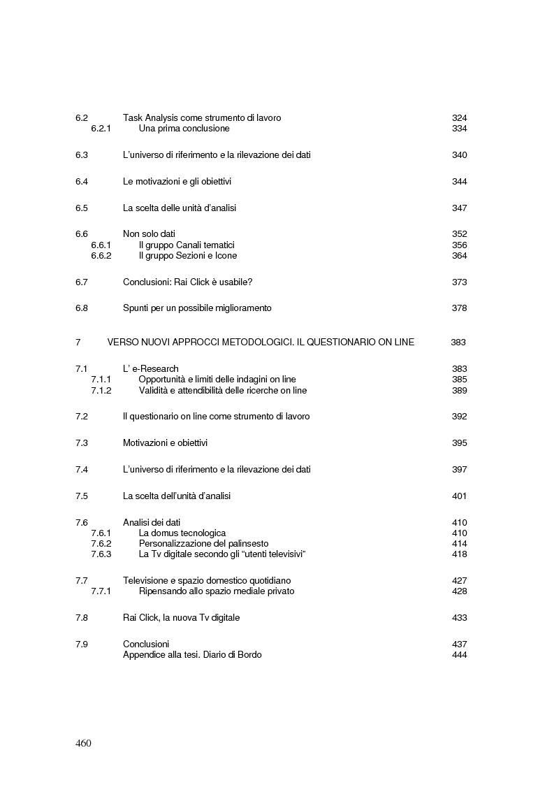Indice della tesi: La Tv digitale come personal medium. Rai Click, la prima Tv on Demand in Italia., Pagina 4