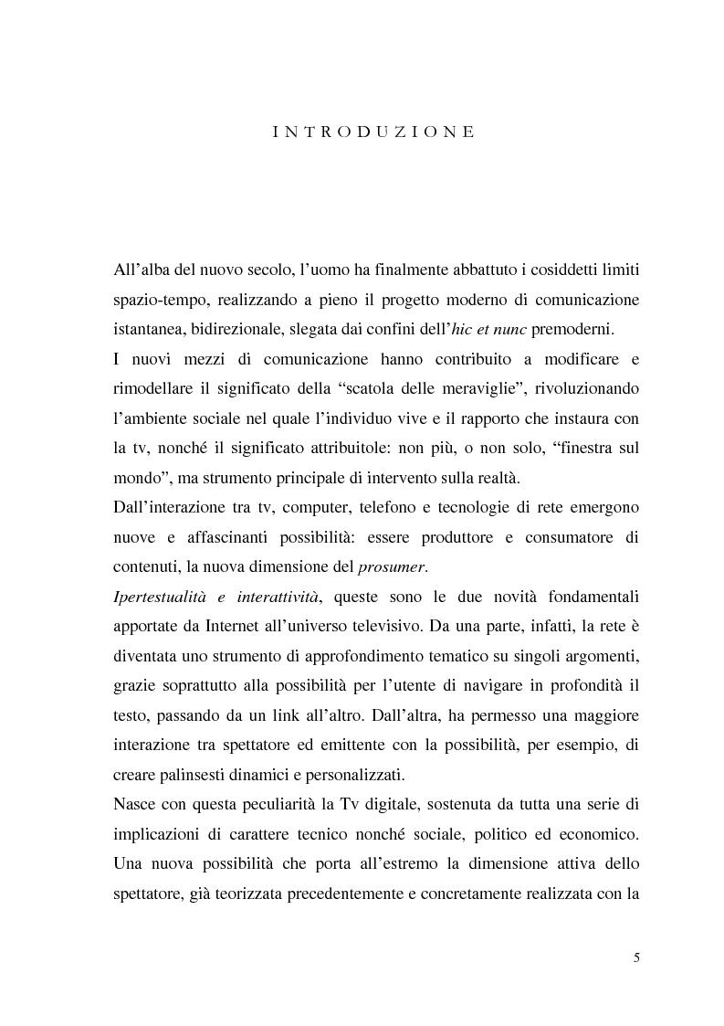 Anteprima della tesi: La Tv digitale come personal medium. Rai Click, la prima Tv on Demand in Italia., Pagina 1