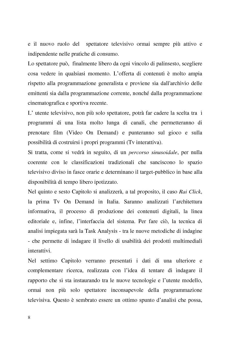 Anteprima della tesi: La Tv digitale come personal medium. Rai Click, la prima Tv on Demand in Italia., Pagina 4