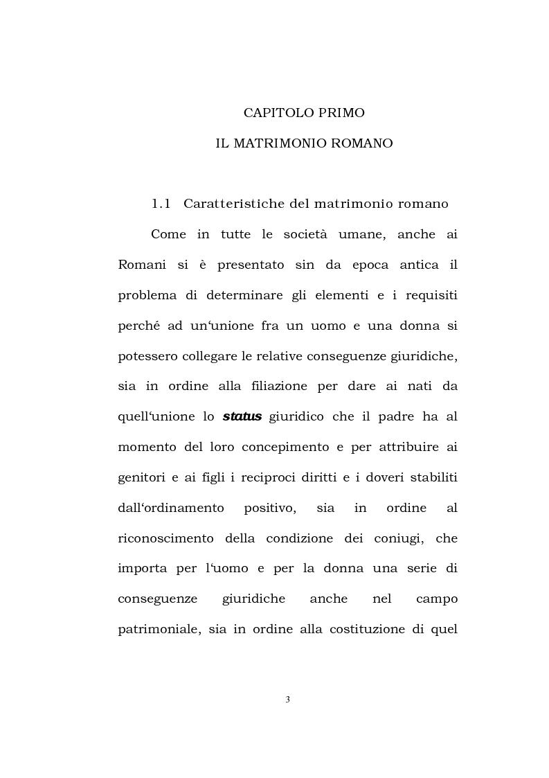 Anteprima della tesi: Il matrimonio romano, Pagina 1