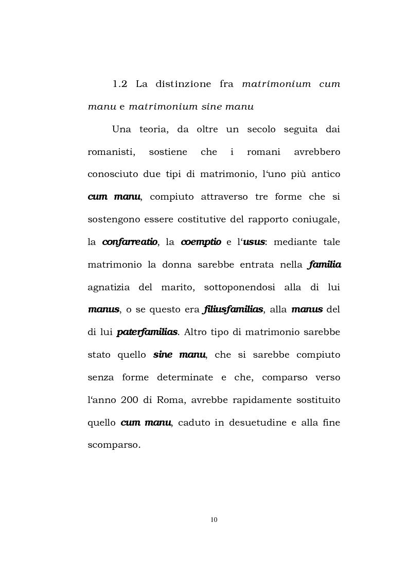 Anteprima della tesi: Il matrimonio romano, Pagina 8