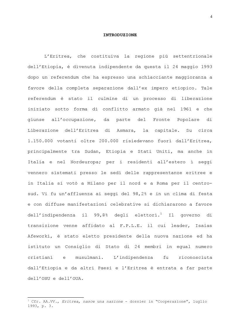 Anteprima della tesi: L'immigrazione eritrea a Genova. Aspetti sociali e culturali, Pagina 1
