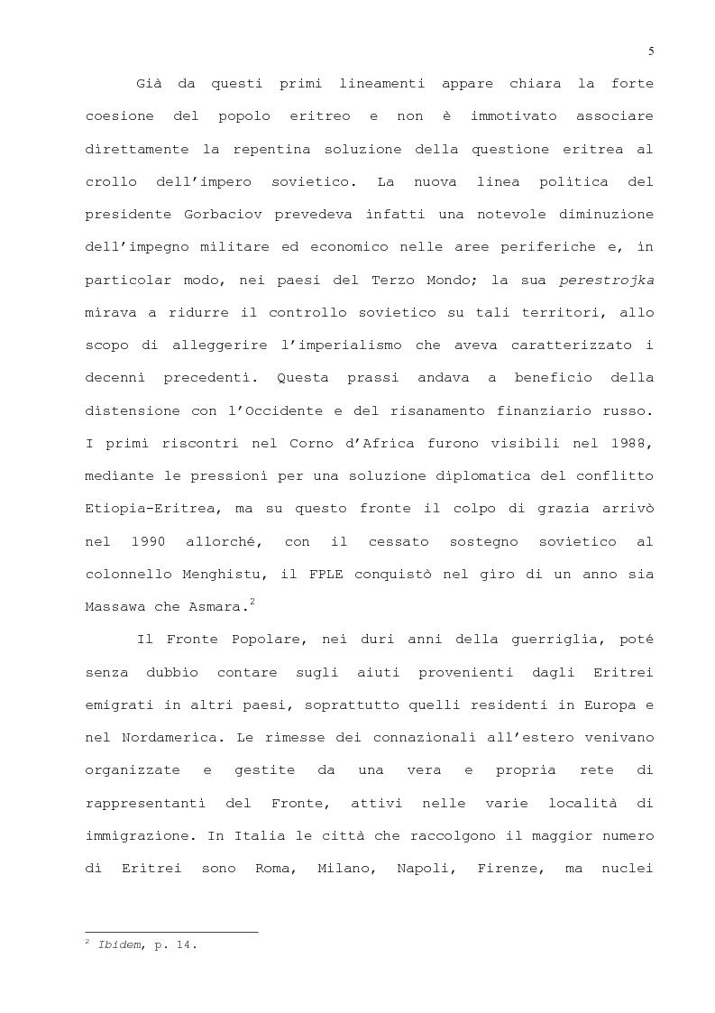 Anteprima della tesi: L'immigrazione eritrea a Genova. Aspetti sociali e culturali, Pagina 2