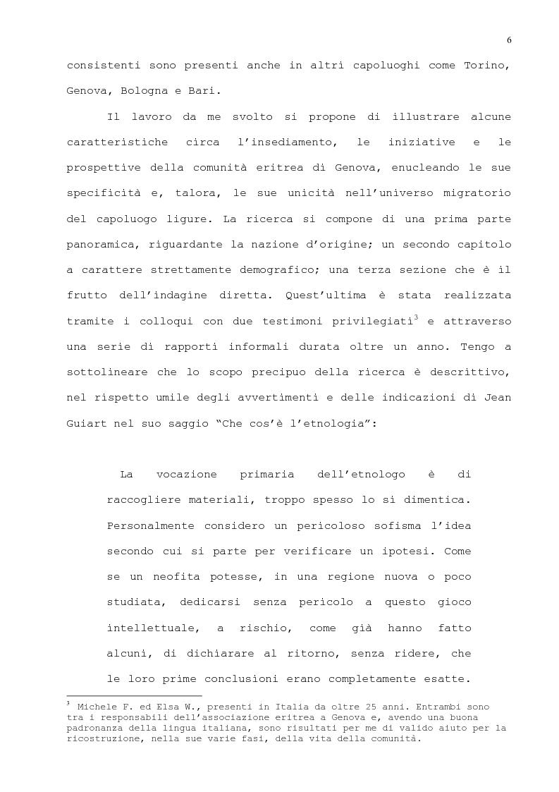 Anteprima della tesi: L'immigrazione eritrea a Genova. Aspetti sociali e culturali, Pagina 3