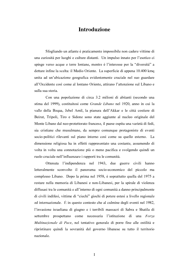 Anteprima della tesi: L'intervento della Forza Multinazionale in Libano nel 1982, Pagina 1