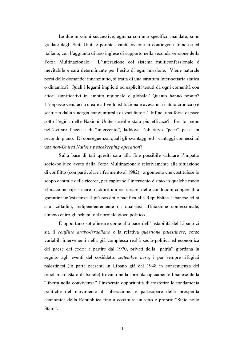 Anteprima della tesi: L'intervento della Forza Multinazionale in Libano nel 1982, Pagina 2