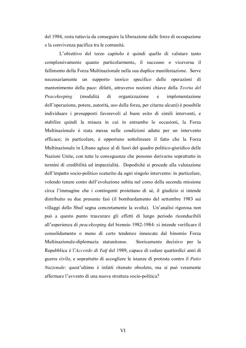 Anteprima della tesi: L'intervento della Forza Multinazionale in Libano nel 1982, Pagina 6