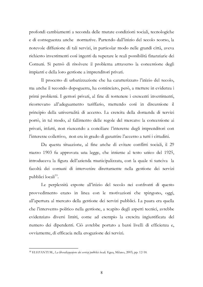Anteprima della tesi: La liberalizzazione del settore delle utilities. Opportunità o nuova minaccia per la Regione Campania?, Pagina 11