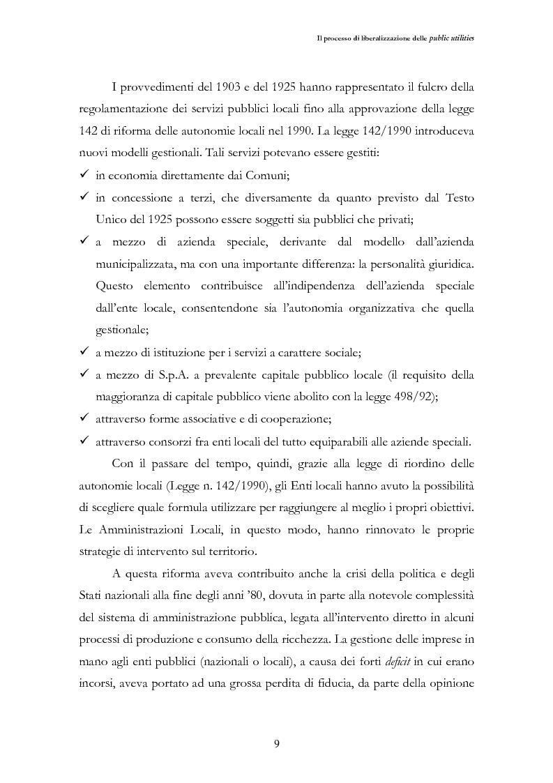 Anteprima della tesi: La liberalizzazione del settore delle utilities. Opportunità o nuova minaccia per la Regione Campania?, Pagina 12