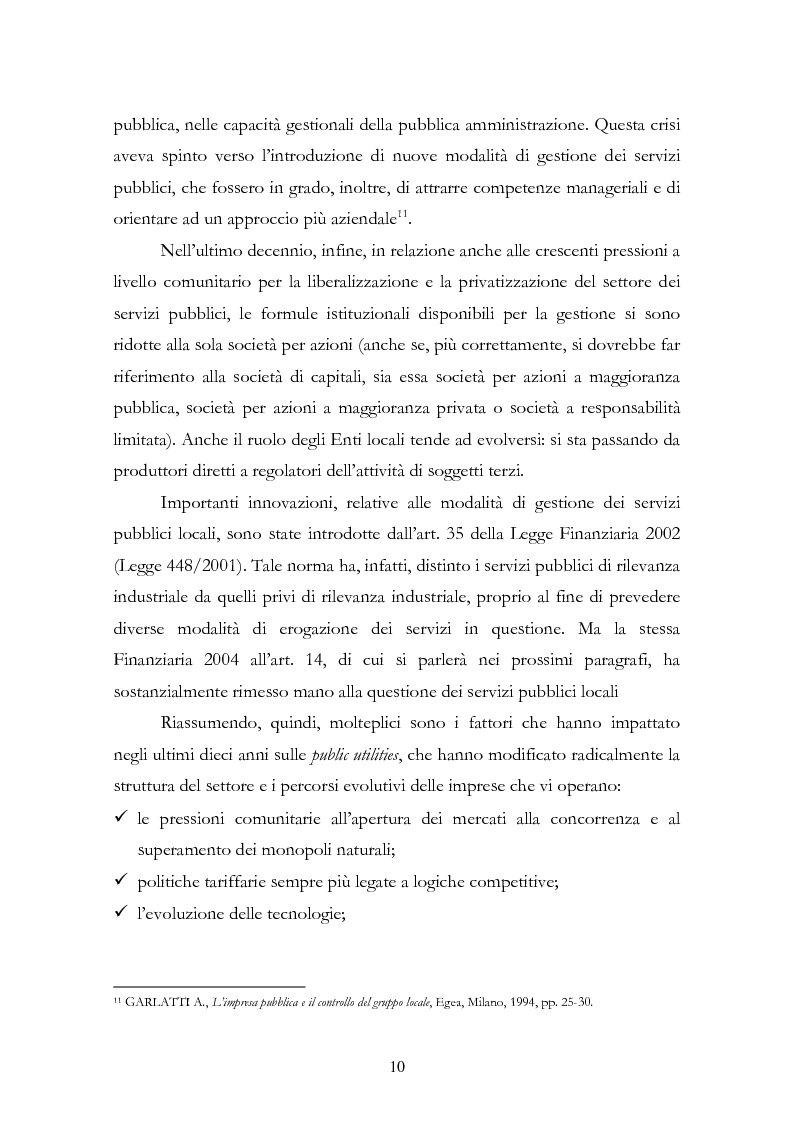 Anteprima della tesi: La liberalizzazione del settore delle utilities. Opportunità o nuova minaccia per la Regione Campania?, Pagina 13