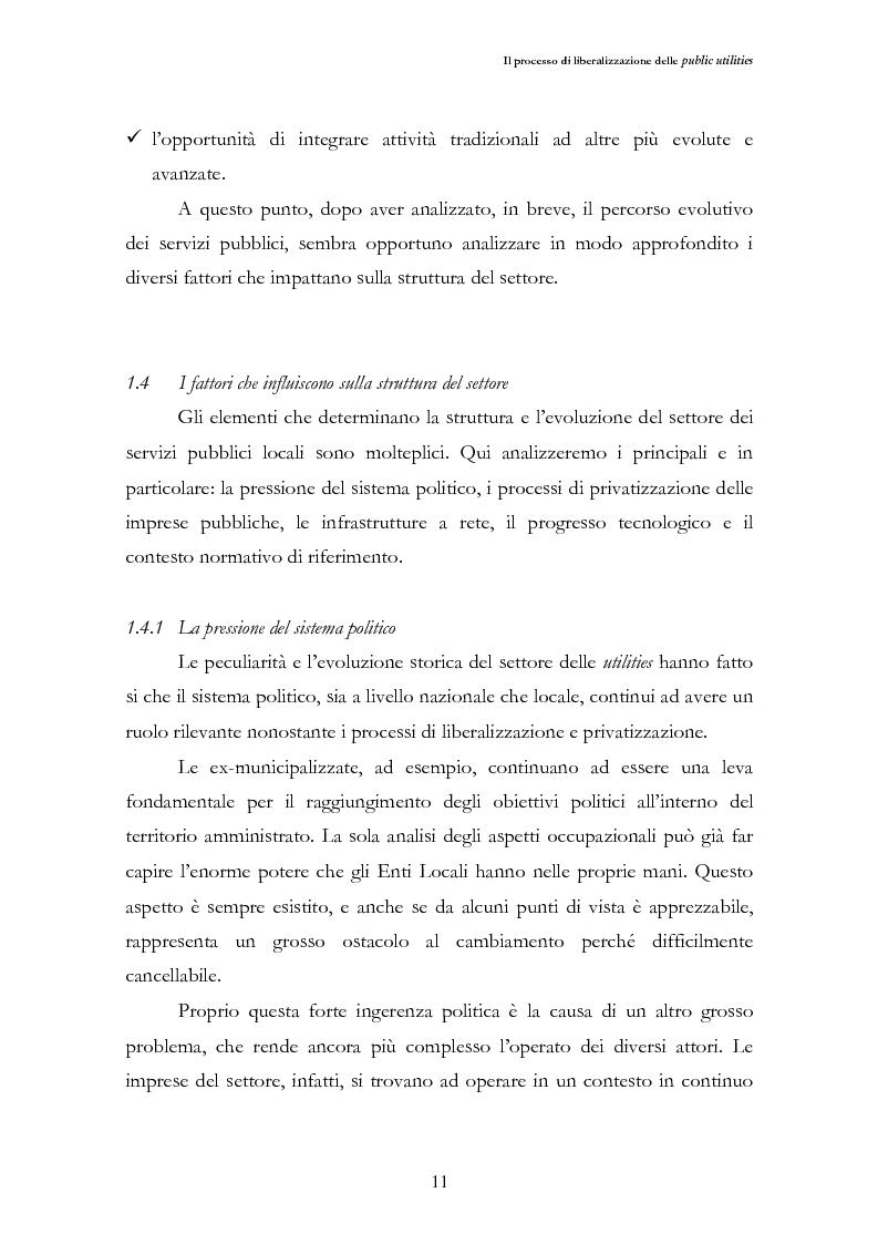 Anteprima della tesi: La liberalizzazione del settore delle utilities. Opportunità o nuova minaccia per la Regione Campania?, Pagina 14
