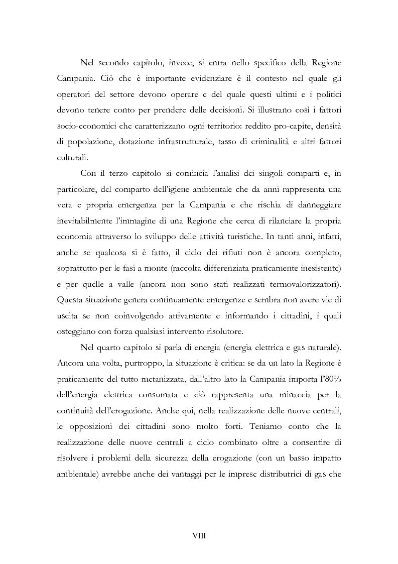 Anteprima della tesi: La liberalizzazione del settore delle utilities. Opportunità o nuova minaccia per la Regione Campania?, Pagina 2