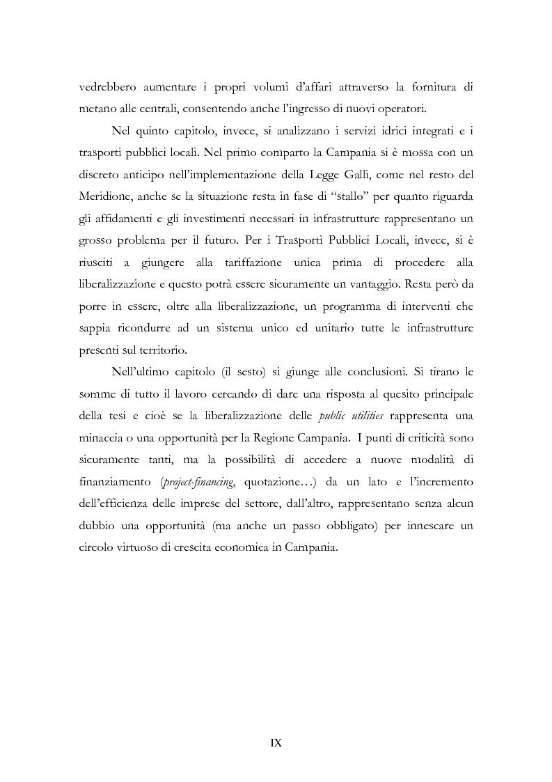 Anteprima della tesi: La liberalizzazione del settore delle utilities. Opportunità o nuova minaccia per la Regione Campania?, Pagina 3