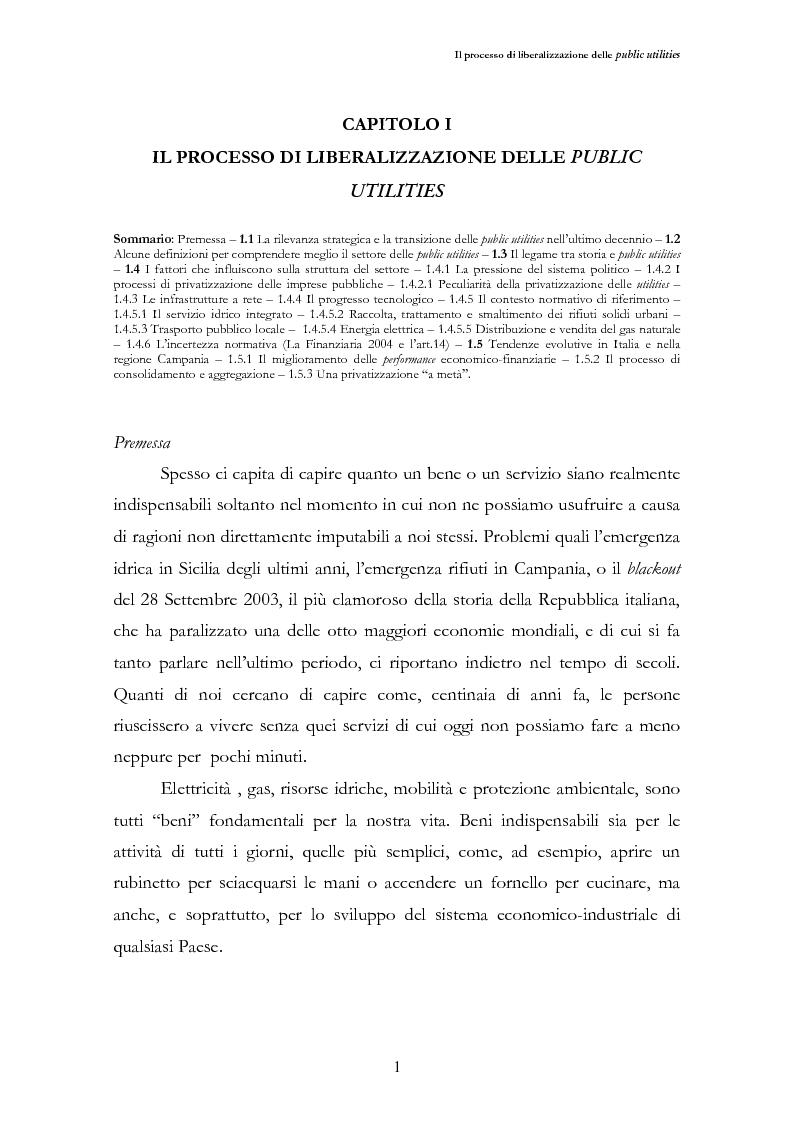 Anteprima della tesi: La liberalizzazione del settore delle utilities. Opportunità o nuova minaccia per la Regione Campania?, Pagina 4