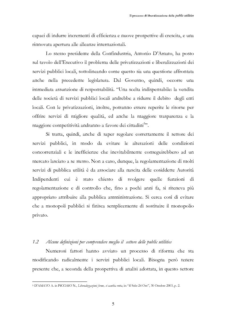 Anteprima della tesi: La liberalizzazione del settore delle utilities. Opportunità o nuova minaccia per la Regione Campania?, Pagina 8