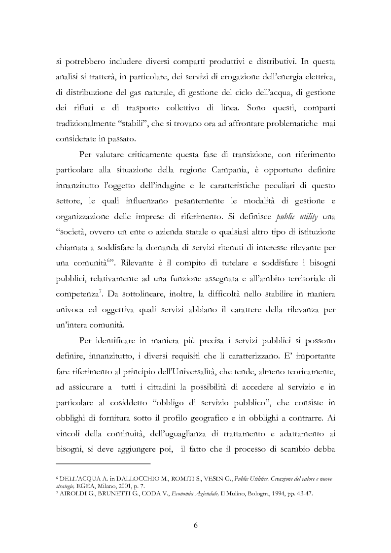 Anteprima della tesi: La liberalizzazione del settore delle utilities. Opportunità o nuova minaccia per la Regione Campania?, Pagina 9