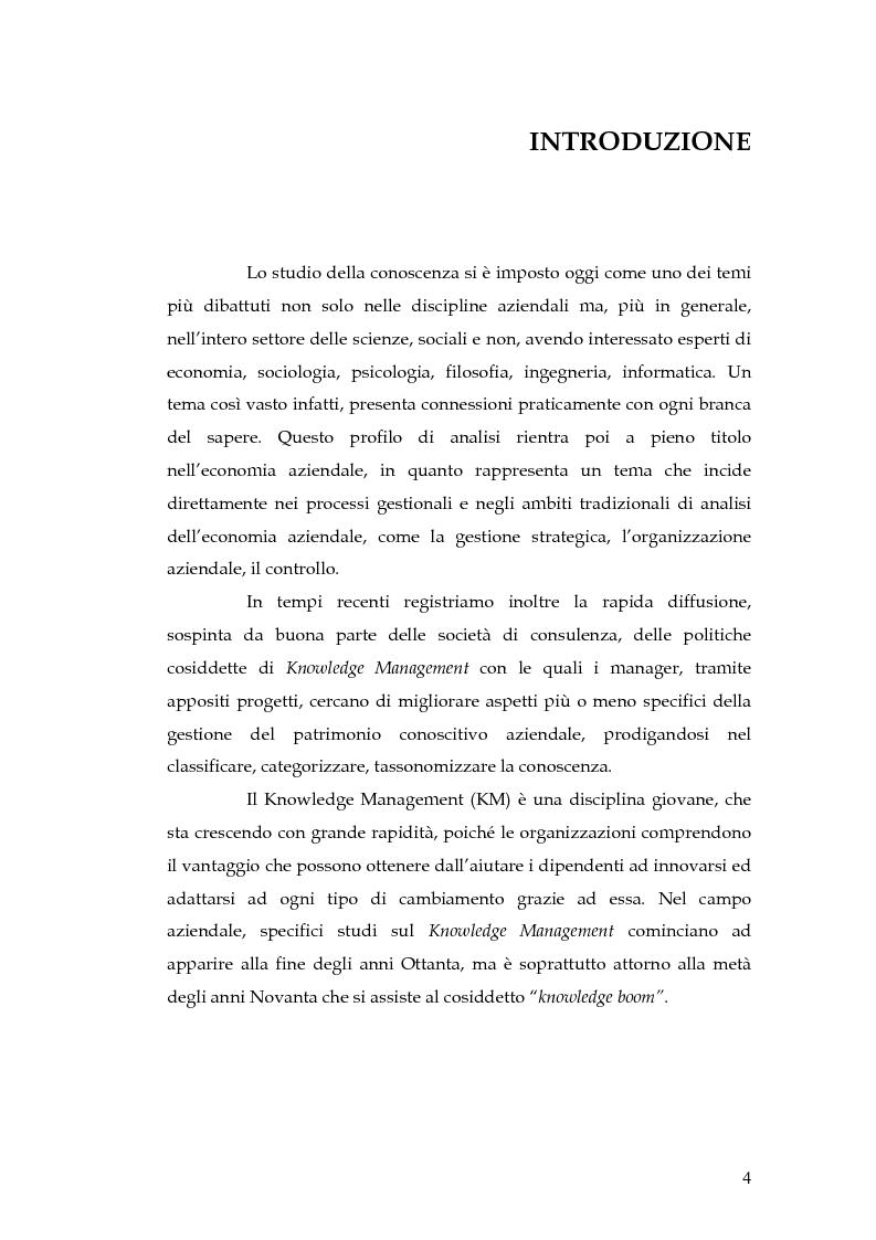 Anteprima della tesi: Knowledge Management: dalla tassonomia dei progetti al modello gestionale, Pagina 1