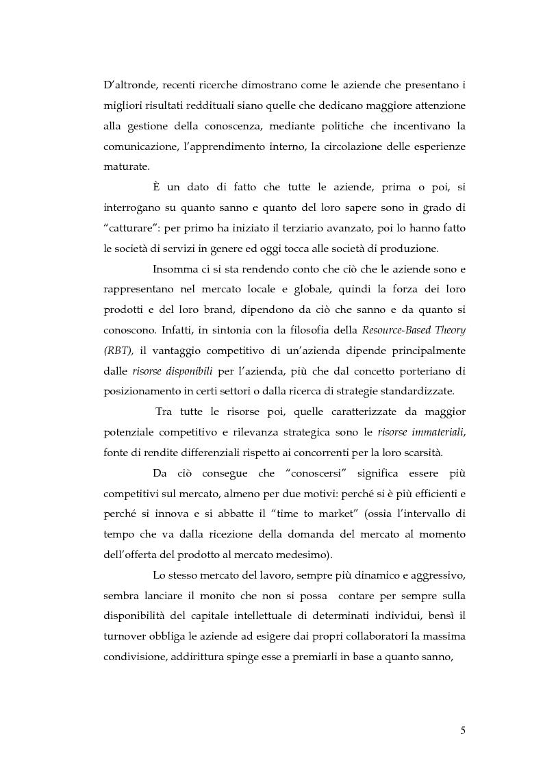 Anteprima della tesi: Knowledge Management: dalla tassonomia dei progetti al modello gestionale, Pagina 2