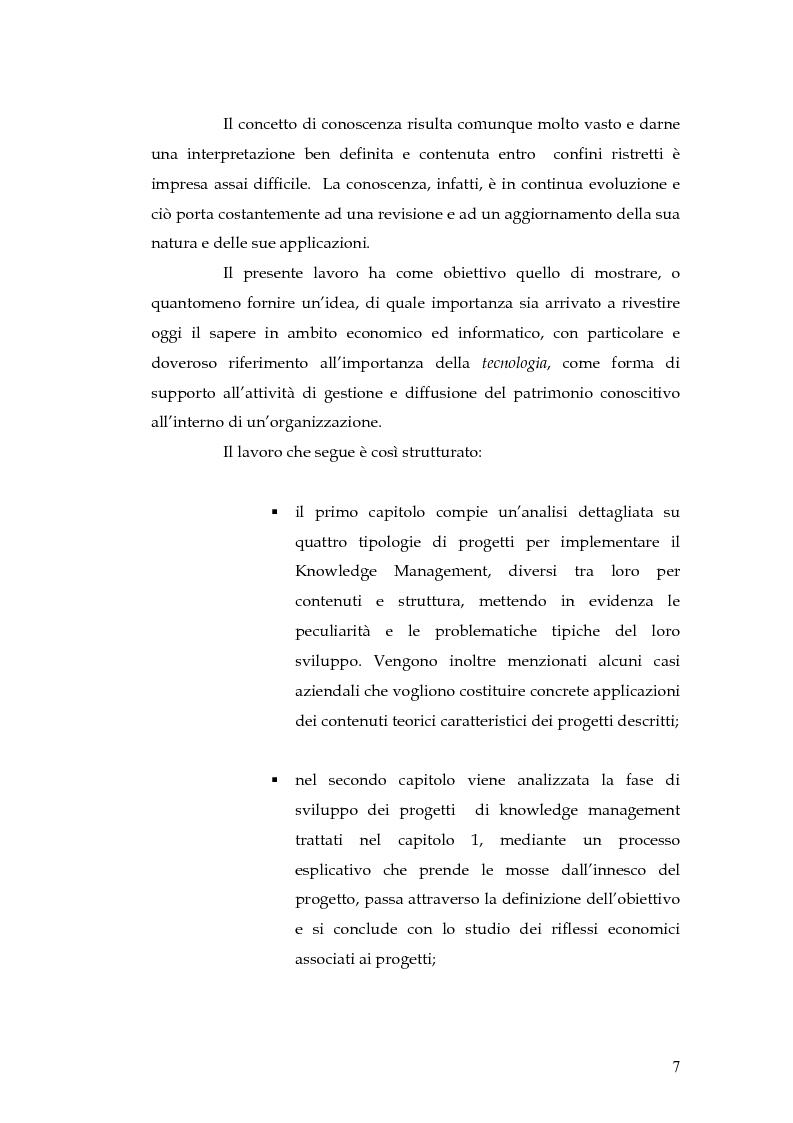 Anteprima della tesi: Knowledge Management: dalla tassonomia dei progetti al modello gestionale, Pagina 4